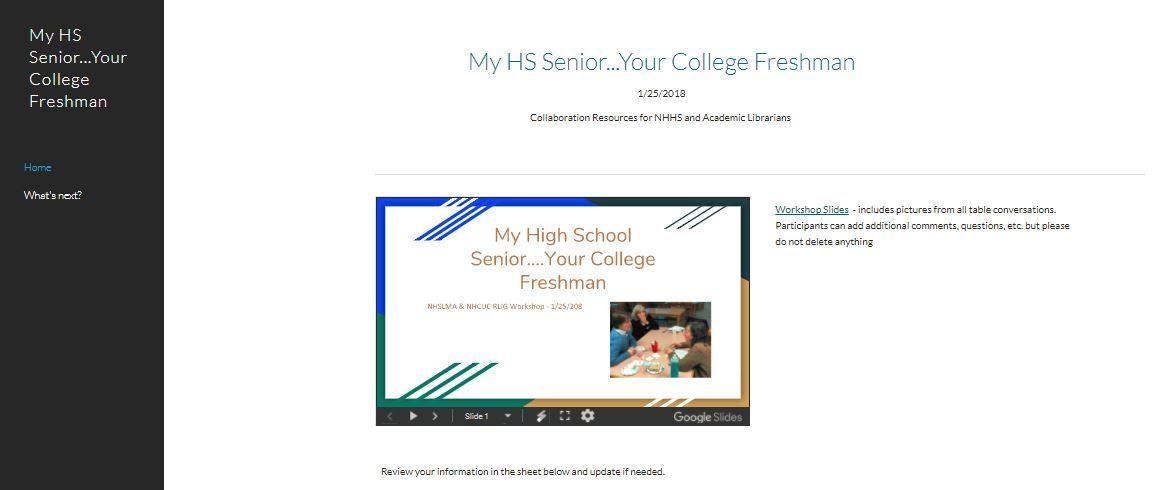 New Hampshire School Library Media Association - My High School